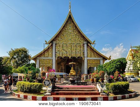 CHIANG MAI, THAILAND - DECEMBER 20, 2012: The Wat Phra Singh temple in the old city of Chiang Mai Thailand