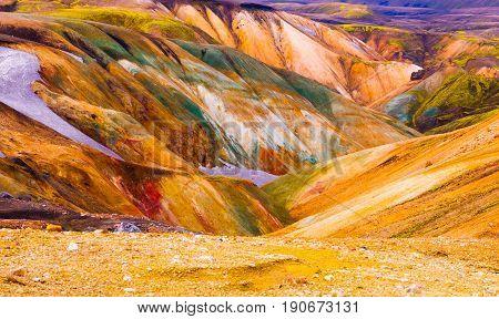 Colorful mountains at Landmannalaugar - start of Laugavegur trail, Iceland.