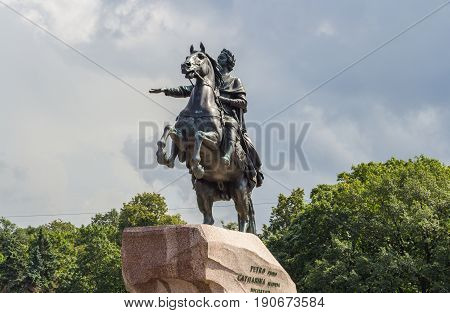 St Petersburg Russia - July 31 2016: Equestrian monument of the Russian Emperor Peter I in St. Petersburg Russia