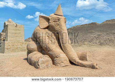 Jelgava, Latvia - JUNE 10, 2017: International Sand Sculpture Festival `Summer Signs`