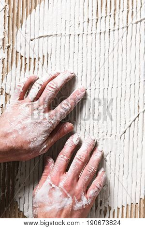 Plaster Builder Hand Stucco White Construction Repair Worker Putty Surface Relief Flat Lay Background Concept