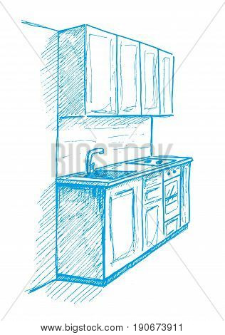 Hand drawn kitchen furniture. Vector illustration. Sketch drawn by a blue pen.