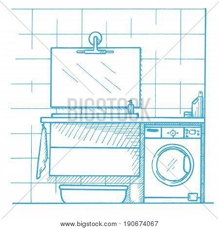 Linear sketch of an interior. Part of the bathroom. Vector illustration. Sketch drawn by a blue pen
