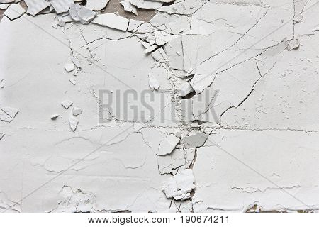 White Crack Wall Split Old Plaster Peel Texture Stucco Background Repair Free Space Crush Error Scratch Concept