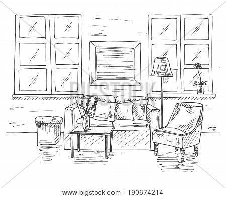 Modern interior of the room. Sofa in front of the sofa is a table. Nearby is an armchair and a floor lamp. Vector illustration in a sketch style