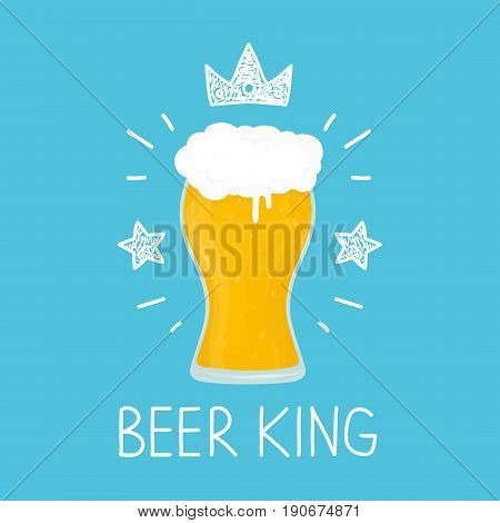 King glass of beer. vector cartoon flat and doodle fun isolated illustration. Crown and stars icon. bar cafe craft beer alcohol concept design. card poster for bar pub