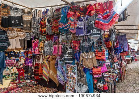 Pisac, Peru- March 16, 2017: Peruvian traditional wares for sale in Pisac Peru