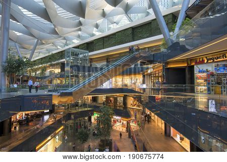 MEXICO CITY MEXICO - APRIL 20 2017: Toreo Parque Central is a massive commercial shopping center measuring 70000 square meters and five levels which opened on November 13 2014.