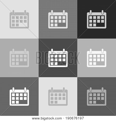 Calendar sign illustration. Vector. Grayscale version of Popart-style icon.