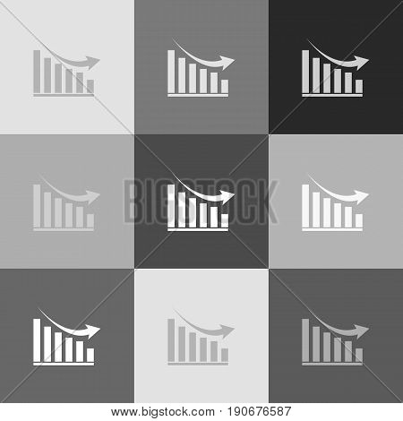 Declining graph sign. Vector. Grayscale version of Popart-style icon.