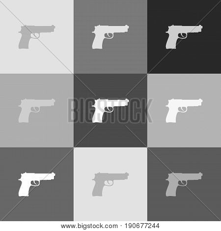 Gun sign illustration. Vector. Grayscale version of Popart-style icon.