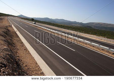 New blacktop on motorway, Highway in Croatia on sunrise