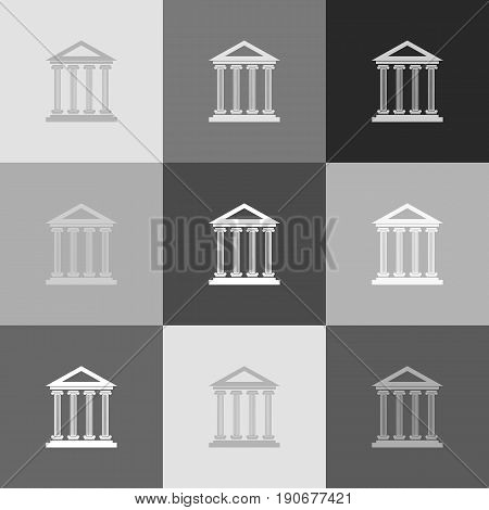Historical building illustration. Vector. Grayscale version of Popart-style icon.
