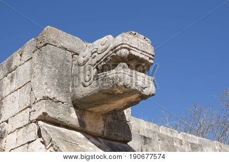 Medium low angle shot of stone serpent head sculpture on wall at Maya ruins of Chichen Itza on clear sunny day in Yucatan Mexico