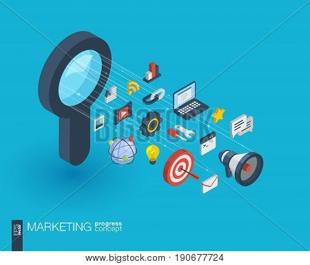 Market integrated 3d web icons. Digital network isometric progress concept. Connected graphic design line growth system. Abstract background for seo optimization, web development. Vector Infograph