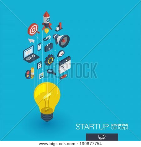 Development integrated 3d web icons. Isometric progress concept. Connected graphic design line growth system. Startup background for programm app, digital code. Vector idea bulb, rocket launch symbols