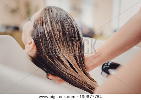 Girl In A Beauty Salon. Wash Your Hair, Hair Care, Health