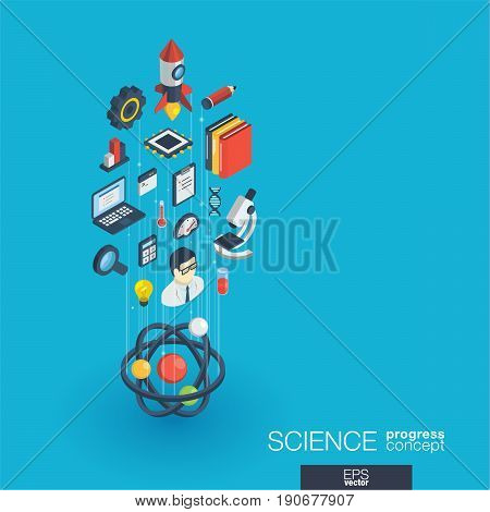 Science integrated 3d web icons. Digital network isometric progress concept. Connected graphic design line growth system. Abstract background for laboratory research and innovation. Vector Infograph