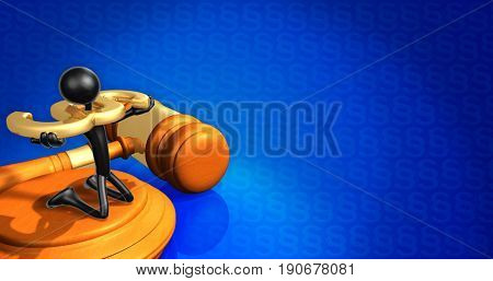 Legal Concept With The Original 3D Character Illustration