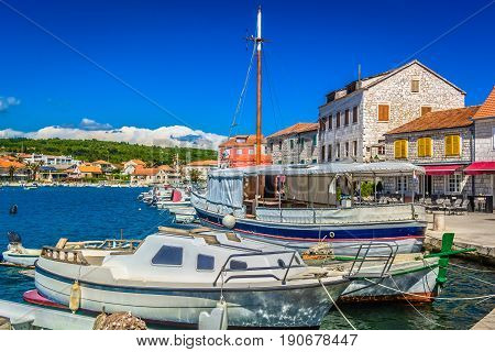 Colorful scenic view at picturesque town Starigrad, Island Hvar, croatian travel places.
