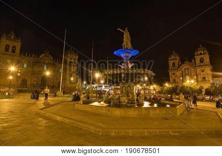 Cusco, Peru- March 17, 2017: Plaza de Armas at night Cusco Peru