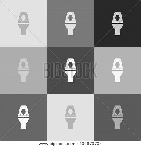 Toilet sign illustration. Vector. Grayscale version of Popart-style icon.