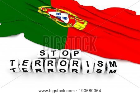Portuguese Flag And Text Stop Terrorism.