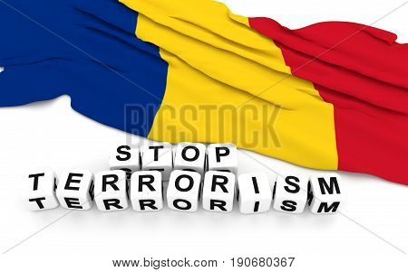 Romanian Flag And Text Stop Terrorism.