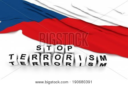 Czech Flag And Text Stop Terrorism.