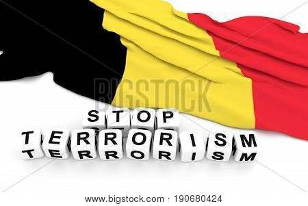 Belgian Flag And Text Stop Terrorism.