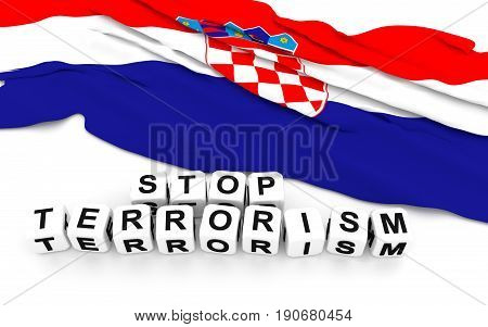 Croatian Flag And Text Stop Terrorism.