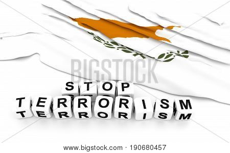 Cypriot Flag And Text Stop Terrorism.
