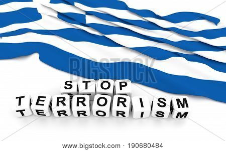 Greek Flag And Text Stop Terrorism.
