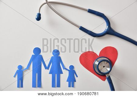 Concept Of Family Medicine With Ostetoscope And Paper Cut Detail
