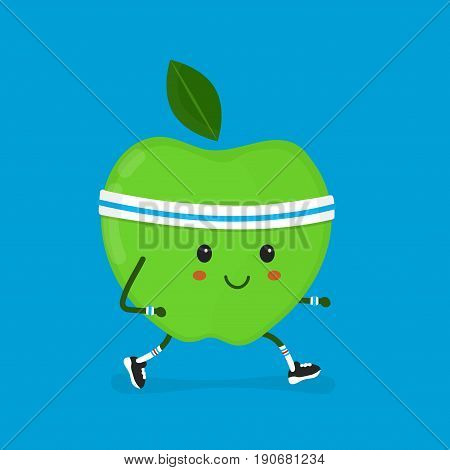 Fitness sport run apple Vector modern flat style cartoon character illustration. Isolated on blue background. Healtcare concept