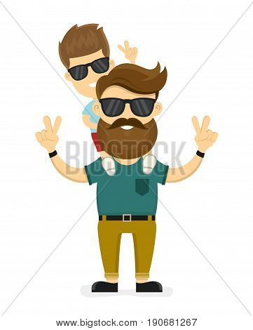 Happy smiling hipster father and son. Vector modern flat style character cartoon illustration design. Isolated on white background. Concept for happy father day card