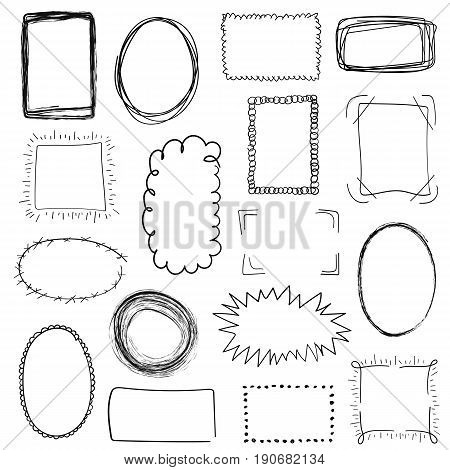 Collection Of Decorative Black Hand Drawn Frames On White Background. Simple, Grunge, Sketch And Doo