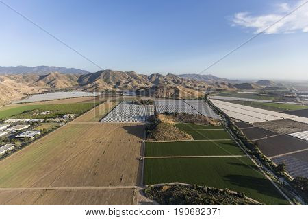 Aerial view of farm fields and the Santa Monica Mountains near Camarillo in Ventura County, California.