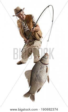 Fisherman with big fish. Crucian carp (Carassius auratus gibelio) isolated on white