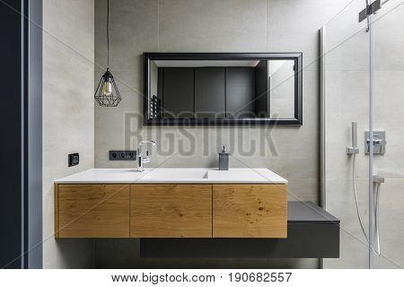 Gray Bathroom With Countertop Basin