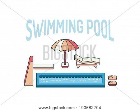 Vector illustration of a swimming pool with sun loungers and sun umbrella. Summer vacation spot near the water