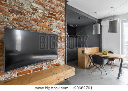 Modern Aprtment With Brick Wall