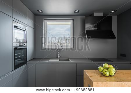 Gray Kitchen With Window