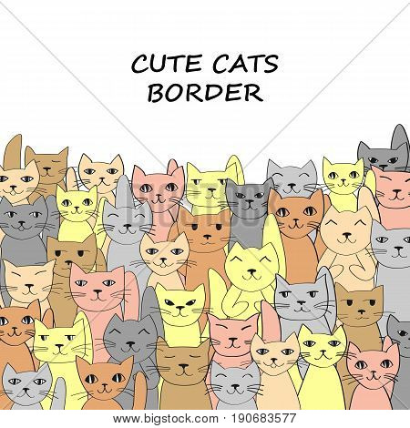 Horizontalcats banner with place for text. Vektor illustration