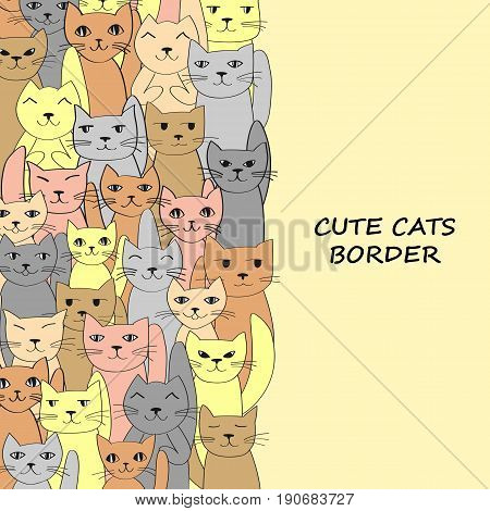 Vertical cats banner with place for text. Vektor illustration