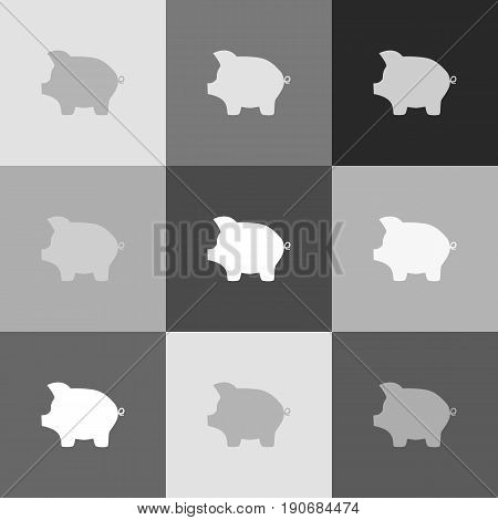 Pig money bank sign. Vector. Grayscale version of Popart-style icon.