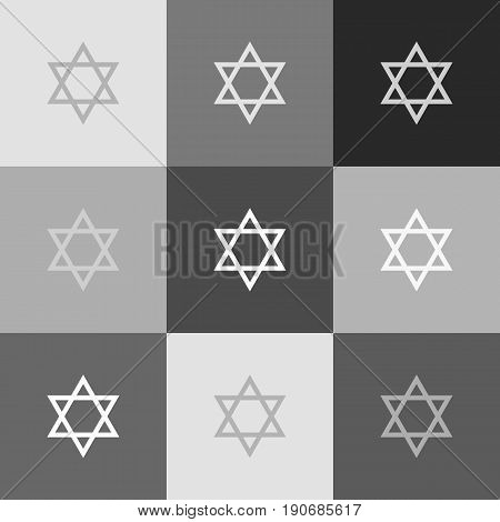 Shield Magen David Star. Symbol of Israel. Vector. Grayscale version of Popart-style icon.