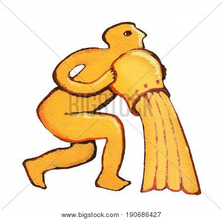 Astrological Sign Of The Zodiac Aquarius As Gingerbread, Isolated On A White Background