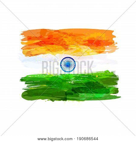 Indian hand drawn watercolor flag. Creative watercolor background in national flag tricolors. India Independence Day. Template for cover design, advertising, banner, greeting card, brochure, flyer