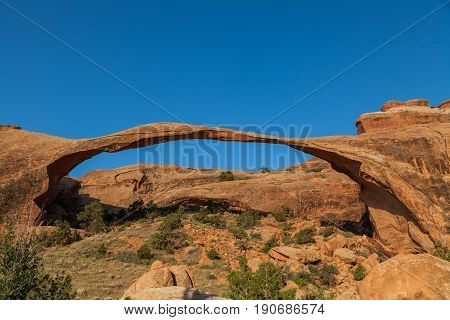 scenic landscape arch in Arches National Park Utah